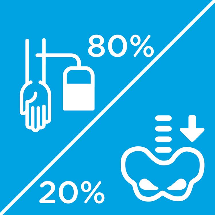 In 80% der Fälle erfolgt eine Stammzellspende über die Blutbahn. In 20% der Fälle über das Knochenmark.