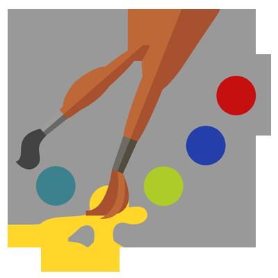 Icon zeigt Malpalette und Pinsel