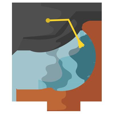 Icon zeigt Globus mit Doktorhut