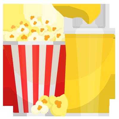 Icon zeigt Popcorn und Getränk