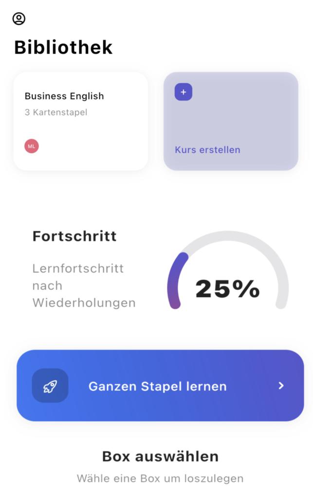 Screenshot Buffl Karteikarten App