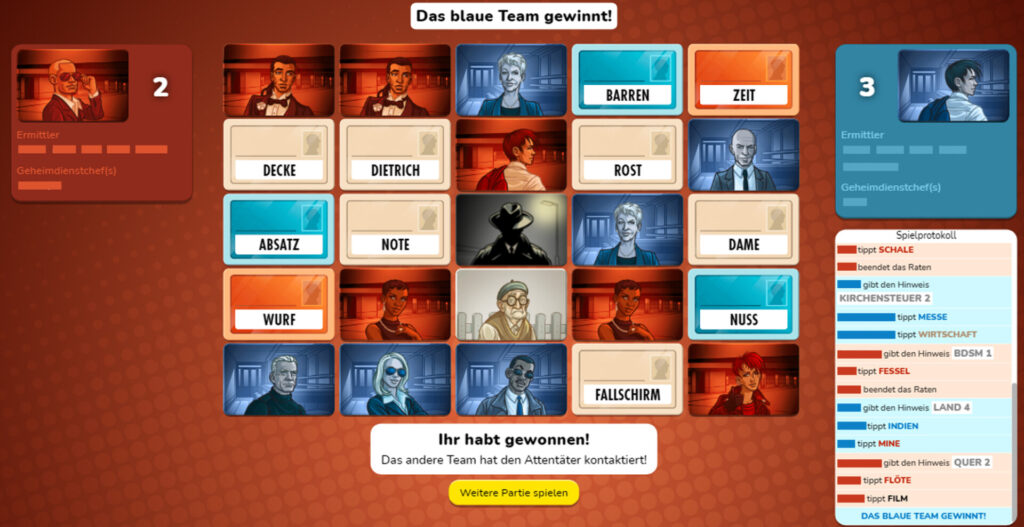 Screenshot einer Partie Codenames