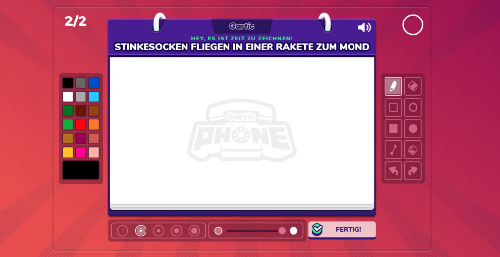 Screenshot der Malfläche in Gartic Phone
