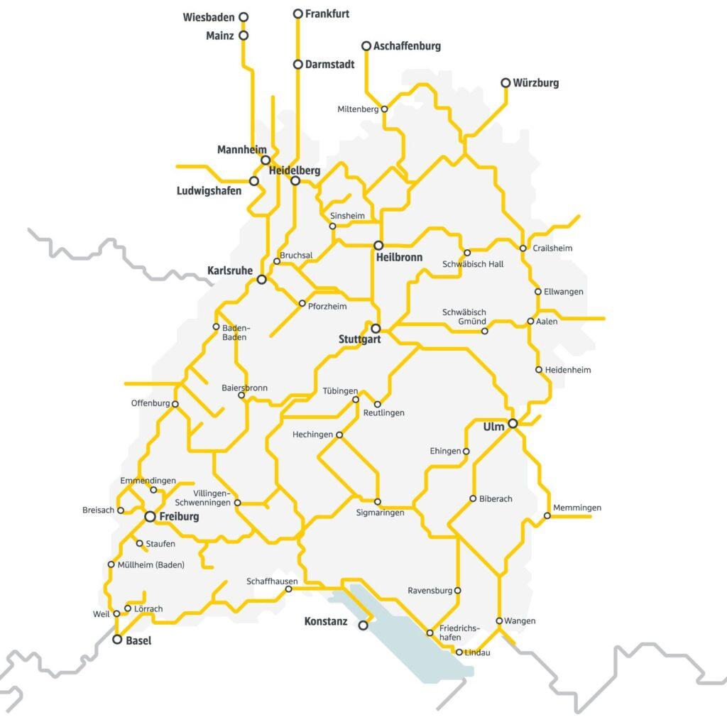 Streckennetz Semesterticket Baden-Württemberg