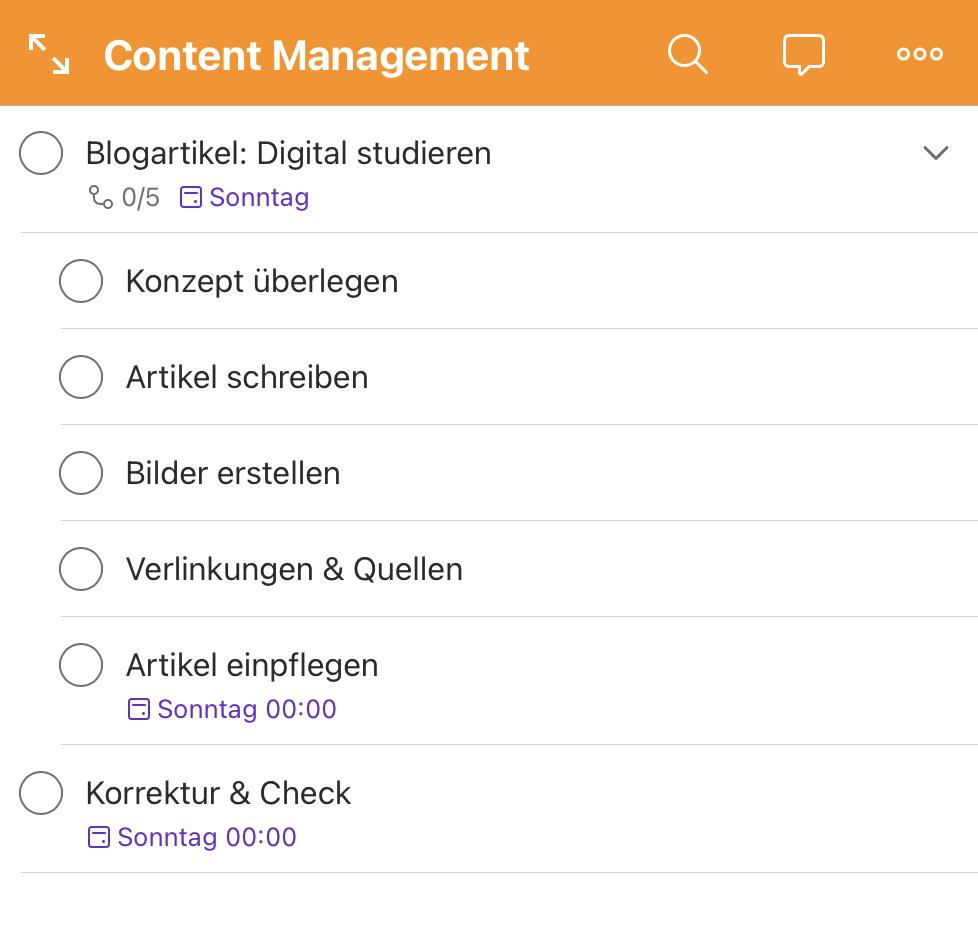 App Todoist mit Beispiel Content Management