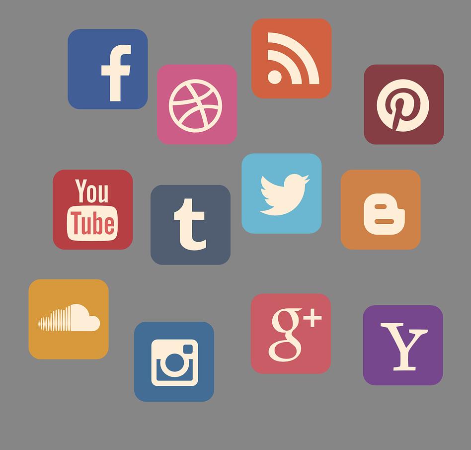 Icons verschiedener sozialer Netzwerke.