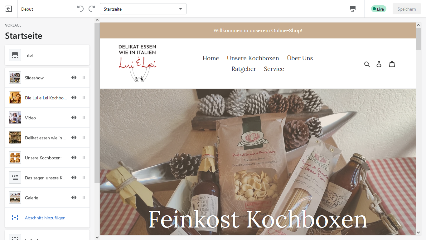 Ein Screenshot vom Backend aus dem Shopify Online Shop meiner Gruppe.