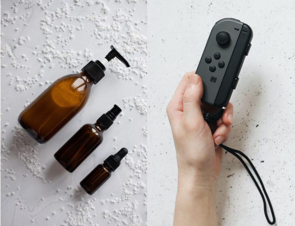 Kollage aus nachhaltigen Produkten und Controller einer Spielekonsole