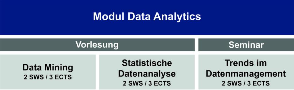 Das Bild zeigt eine Tabelle mit den verschiedenen Bestandteilen des Moduls Data Analytics.