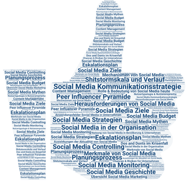 Themen Social Media Marketing in Form eines Like Daumens
