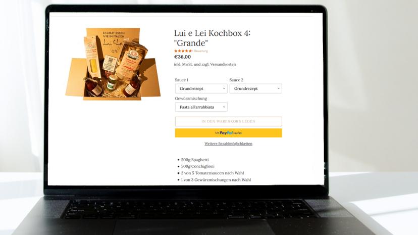 Ein Screenshot vom Shopify Online Shop meiner Gruppe aus dem vergangenen Semester.