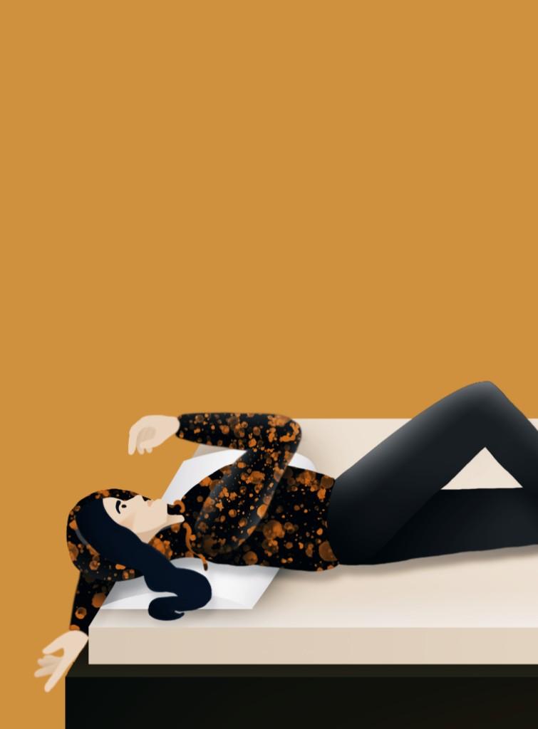 Digitale Illustration: Mädchen liegt auf Bett