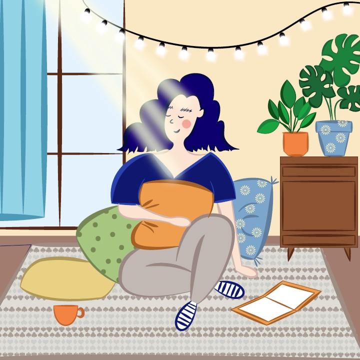 Digitale Illustration: Mädchen auf dem Boden sitzend