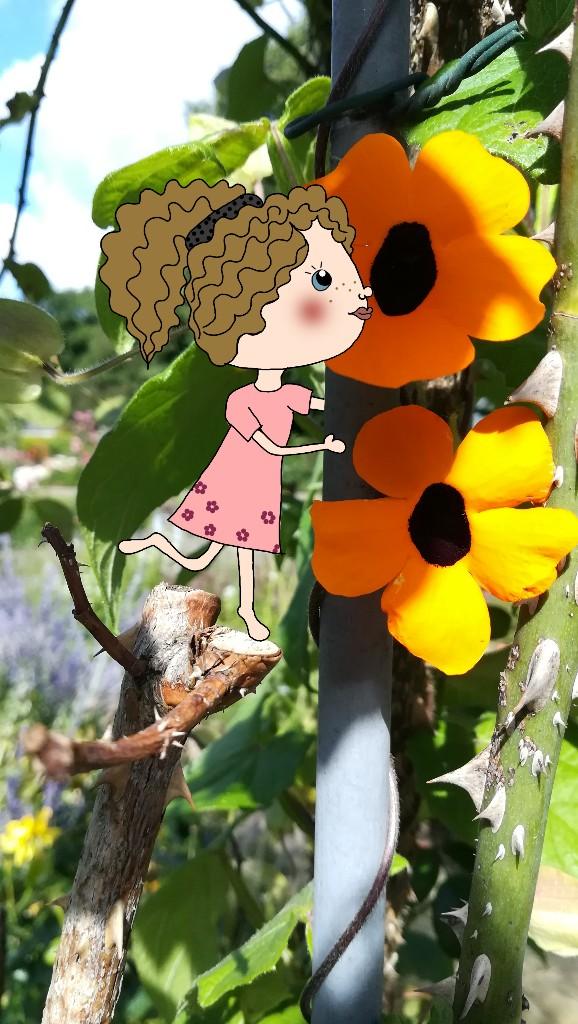 Digitale Illustration: Mädchen mit Blumen