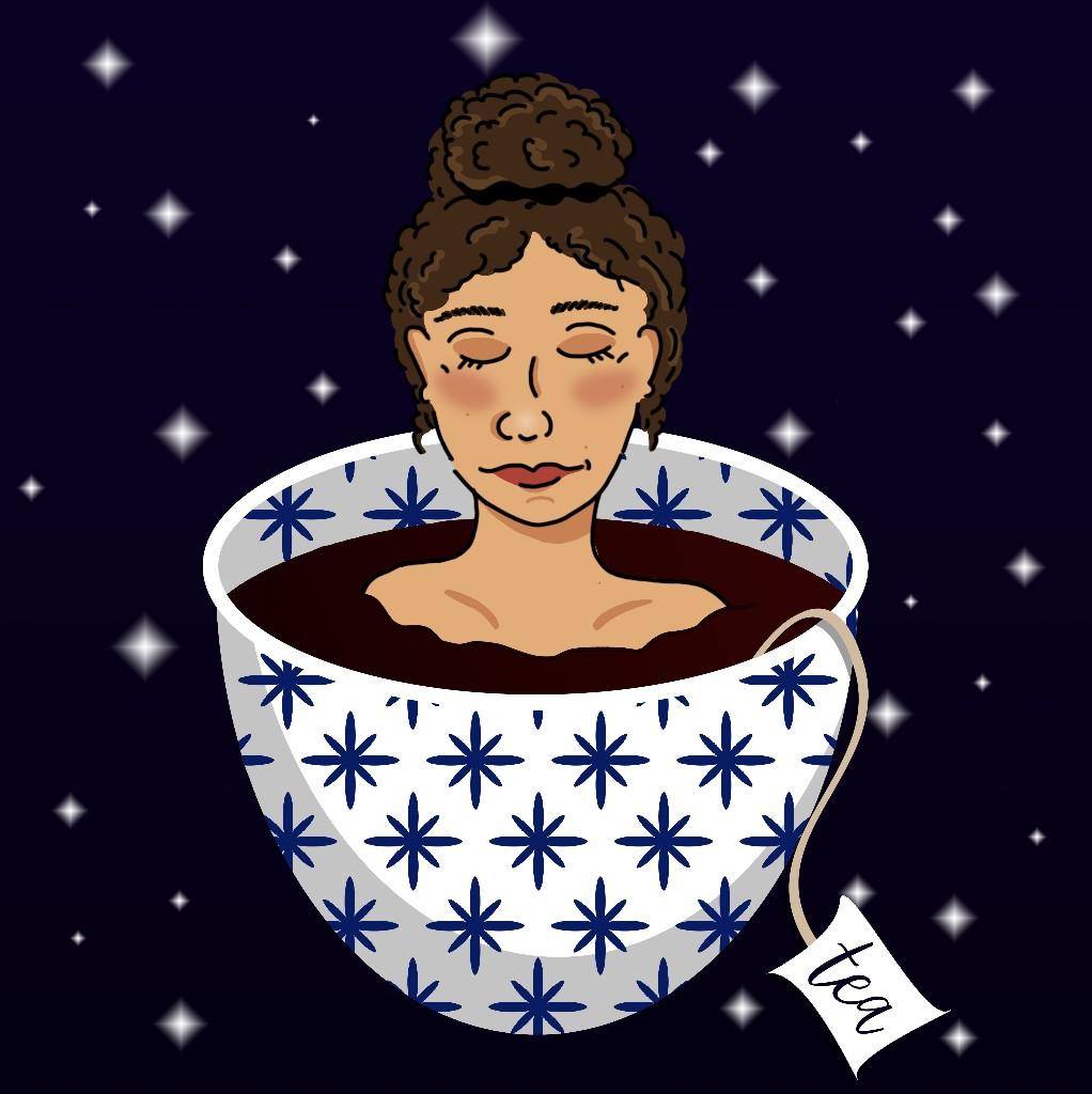 Digitale Illustration: Mädchen in Teetasse